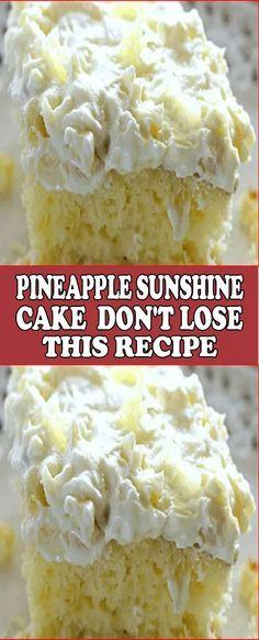 Pineapple Sunshine Cake – Don't LOSE this recipe! - - Pineapple Sunshine Cake – Don't LOSE this recipe! Deserts Pineapple Sunshine Cake – Don't LOSE this recipe! Best Cake Recipes, Sweet Recipes, Favorite Recipes, Recipes For Cakes, Boxed Cake Recipes, Easy Recipes, Summer Cake Recipes, Dessert Cake Recipes, Homemade Cake Recipes