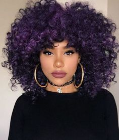 More (Purple Natural Hair) Purple Natural Hair, Pelo Natural, Purple Hair Black Girl, Curly Purple Hair, Dark Purple, Deep Purple Hair, Natural Hair Bangs, Colored Curly Hair, Natural Curls