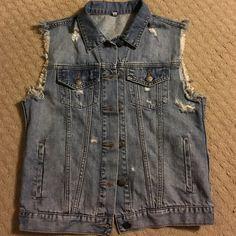 Buckle Denim vest ORIGINAL LISTING PRICE 35 sneak peek fraying and destruction denim vest size medium .. NWOT .. Never worn.  Purchased through Buckle Buckle Jackets & Coats Vests