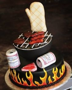 BBQ cake--great idea for groom's cake or father's day cake Crazy Cakes, Fancy Cakes, Pink Cakes, Unique Cakes, Creative Cakes, Fondant Cakes, Cupcake Cakes, Shoe Cakes, Super Torte