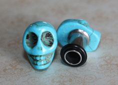Blue sugar skull plugs tunnels gauges for gauged / stretched ears: 4g (5mm), 2g (6mm), 0g (8mm) on Etsy, $18.50