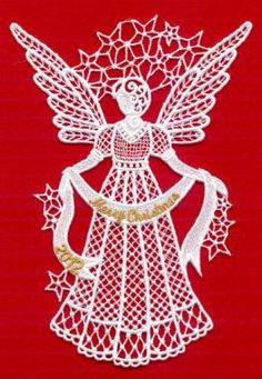 Freestanding Lace Angel 2012 (Med) Embroidery Design by CD-Creative Design Machine Embroidery Applique, Lace Embroidery, Free Pes Embroidery Designs, Lace Patterns, Crochet Patterns, Parchment Craft, Snowflake Pattern, Christmas Art, Christmas Angels