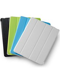 Custodia e supporto per iPad®: grigio ghiaccio, azzurro mare, verde lime, ed ecopelle nera #dmail