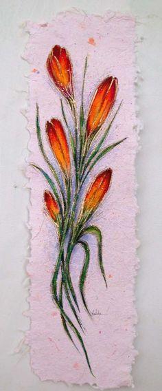 Los brotes de flor 303 6 x 22 pintada sobre por valdasfineart