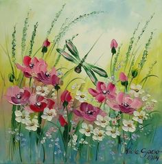 Dragonfly Meadow Impression IMPASTO Original Oil Painting Europe Artist Flowers 2000-now OOAK COA Palette knife art shabby chic colors pink white wild flowers Impressionist Textured art colorful Signed Varnished Stretched canvas Floral & Gard...