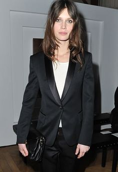 Marine Vacth Photos - Marine Vacth attends the Yves Saint-Laurent Ready-To-Wear Fall/Winter 2012 show as part of Paris Fashion Week on March 2012 in Paris, France. Fashion Week, Paris Fashion, Fashion Trends, Fashion Beauty, Fashion Looks, Smoking, Tuxedo Jacket, Harpers Bazaar, Front Row