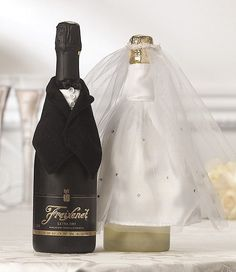 Bride and Groom Wedding Champagne Wine Bottle Covers