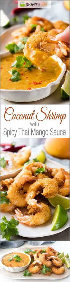 1 lb Prawns, whole. 1 tsp Chilli, red. 2 tbsp Cilantro/coriander, leaves and stems. 1 cup Mango., packed fresh. 1 Egg. 2 tbsp Coconut milk. 1 tbsp Fish sauce. 1 tbsp Sriracha. 1 Black pepper. 1/4 tsp Salt. 1 Oil. 1/2 cup Desiccated coconut. 1/2 cup Panko breadcrumbs. 2 tbsp Red onion or eschallots, finely chopped.