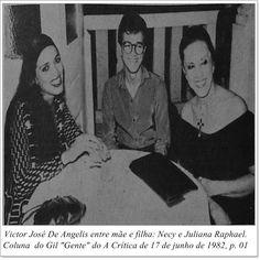 """Victor José de Angelis, Necy e Juliana Raphael. Coluna do Gil """"Gente"""" do A Crítica de 17 de junho de 1982."""