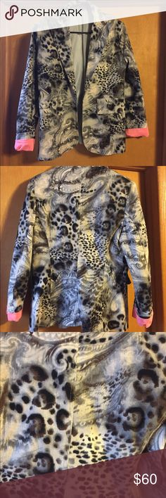 Print jacket Custom made, super cute and stylish, beautiful print and details, like jeans fabric, size 8-10, ask for additional measurements if interested. Jackets & Coats Blazers