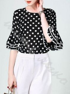 Black H-line Bell Sleeve Polka Dots Blouse Polka Dot Blouse, Polka Dots, Blouse Outfit, Feminine Style, Spring Summer Fashion, Bell Sleeves, Style Inspiration, Trending Outfits, How To Wear