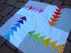 Rainbow Flying Geese MiniQuilt - Color Girl Quilts by Sharon McConnell Machine Quilting Patterns, Quilt Block Patterns, Quilt Blocks, Quilt Kits, Small Quilts, Mini Quilts, Quilting Tutorials, Quilting Designs, Quilt Design