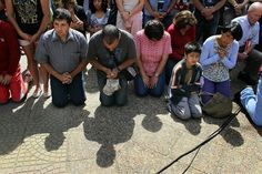 A Catholic church service was set up outside the Parroquea San Jose church in CHILE