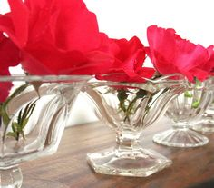 Items similar to Footed Dessert Bowls, Set of Clear Pressed Glass, Vintage Wedding Decor, Small Flower Vases, Bud Vases on Etsy Bud Vases, Flower Vases, Dessert Bowls, Pressed Glass, Small Flowers, Glass Vase, Wedding Decorations, Desserts, Etsy