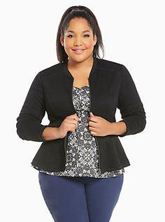 Plus Size Quilted Knit Zip Up Peplum Jacket, DEEP BLACK