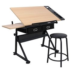SUPER DEAL Drafting Desk Drawing Table Desk - Height Adjustable - Tiltable Tabletop - Padded Stool - Two Drawer for Reading, Writing, Art Craft Work Station (Wood) Portable Drafting Table, Table Portable, Artist Drawing Table, Drawing Desk, Drawing Tables, Drawing Board, Tabletop, Desk Height, Art Studio Design