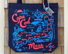Cape Cod Tote Bag Navy • Red & Blue