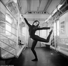 Sara Ivan: The black-clad dancer uses an empty New York subway 6 train as her stage in this striking image