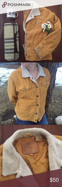 Mustard yellow jacket If this jacket fit me better it would never leave my body! The mustard yellow corduroy has minor rips that add to it's amazing outdoor character! The rustic neckline and detailed buttons are so rustic and cozy feeling. If you love the our doors and have a love for country music you will love this!! It can fit a medium as well as large very well. powder river Jackets & Coats