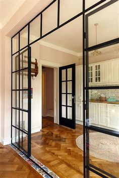 Top Modern Living Room Interior Designs and Furniture Glass Room Divider, Living Room Divider, Room Dividers, Living Room Kitchen, Interior Design Living Room, Living Room Designs, Steel Doors And Windows, Interior Room Decoration, Living Room Remodel