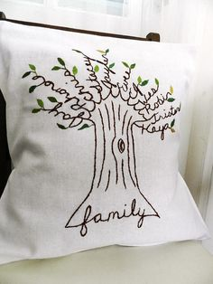 """Every Family needs one of these on their sofa to cuddle with... the branches are names-- """" Family Tree pillow"""""""