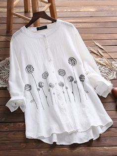 Vintage Button Printed Blouse for Women