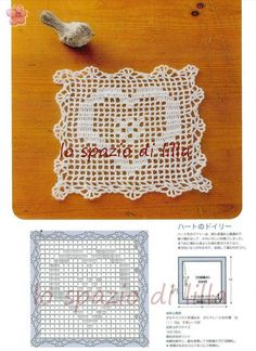 lo spazio di lilla: Bordura e piastrella a filet con frutta e cuore, schemi / Fruity crochet filet edge and square, free pattern