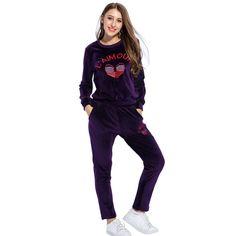 Women's Fashion Autumn Winter Warm Suits Velvet Embroidery Leisure Sporting Suit Two Pieces Sets Hoodies Long Pants