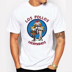 Summer breaking bad t men t shirts fashion shirts LOS POLLOS Hermanos Chicken Brothers White funny hip pop tee shirt homme T Shirt Hipster, Hipster Tops, Hipster Man, Breaking Bad Shirt, T-shirt Hippie, Harajuku, Outfit Man, Funny Tee Shirts, Heisenberg