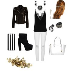 Black and White by night-elves on Polyvore featuring Mode, Balmain, River Island, Michael Kors and Ciner
