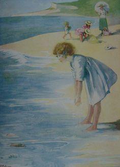 HONOUR C APPLETON  SEASIDE  Young Girl  Waves  by BeeswingPrints