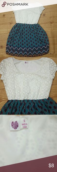 AUW Multi-Color diamond Print dress size small AUW Multi-Color diamond Print dress with lining skirt Crochet Lace top size small   Measurements Laying flat  Top to bottom 30 inches  Armpit to Armpit 30 inches  Waist 24 inches AUW  Dresses