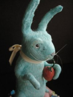 Big Blue Spun Cotton Bunny with carrot from by MRCROWSGARDEN, $89.99