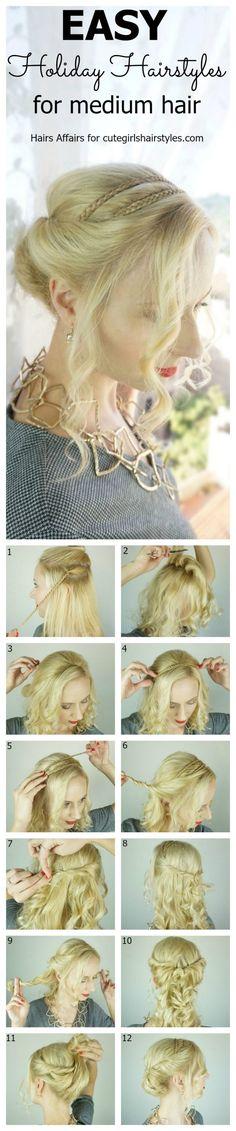 Coiffures de vacances faciles pour les cheveux de longueur moyenne  #cheveux #coiffures #faciles #longueur #moyenne #vacances