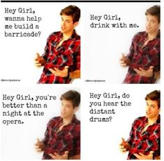 Aaron Tveit. These are funny. (@Grace Stukenborg you know he's saying these to me!!!) ;)