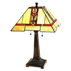 "Paul Sahlin Tiffany Red Chevron Table Lamp - 15"""
