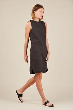 Crinkle tank dress, Black