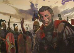 """Julius Caesar inspecting his legions in Gaul. Artwork from the book """"The Gallic War"""" by Tarek and Vincent Pompetti"""