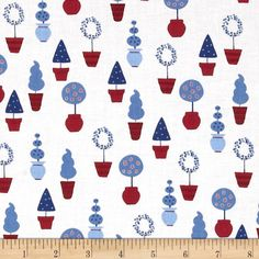 Vive La France Topiaries Denim from @fabricdotcom  Designed by Monaluna for Robert Kaufman, this cotton print fabric is perfect for quilting, apparel, crafts, and home decor items.