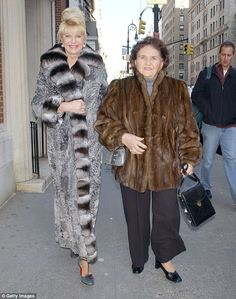 Family style: Ivanka's mother Ivana Trump (left) and her grandmother Maria Zelnicek (right) are pictured wearing fur coats in 2005