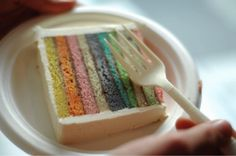 Another rainbow layer cake, this time in a more muted palette