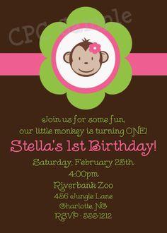 Monkey Birthday Invitation Monkey Birthday by CutiesTieDyeBoutique, $15.00