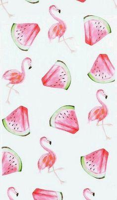 Watermelon & flamingos print pattern perfect for summer /  #summer #summervibes
