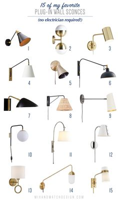 All About Plug-In Wall Sconces (And A Roundup of My Favorites) — Mix & Match Design Company Plug In Wall Lights, Plug In Wall Sconce, Swing Arm Wall Sconce, Black Wall Sconce, Indoor Wall Sconces, Wall Sconce Lighting, Wall Mounted Lights Bedroom, Bedside Lighting, Bedside Wall Lights