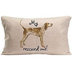 LDJ Cotton Linen Sofa Seat Rectangle Throw Pillow Case Decorative Cushion Cover Pillowcase Design With Rescue American English Coonhound Custom Pillow Cover Print One Sides Sized 12x20 Inches