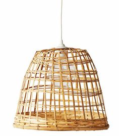 Make your own bamboo pendant light. All you need is basket + oversized lightbulb + cord set.