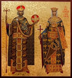 Helen & Constantine -May 21 Byzantine Icons, Byzantine Art, Early Christian, Christian Art, Religious Icons, Religious Art, St Constantine, Church Icon, Roman Church