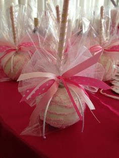 Chocolate covered apple  Have all ribbons for them. Straws....Favor table and dessert table.