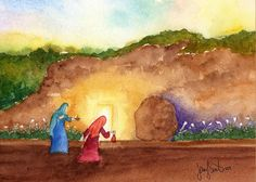 Easter Greeting Card featuring the painting The Empty Tomb by Jennifer Greene easter images The Empty Tomb Greeting Card for Sale by Jennifer Greene