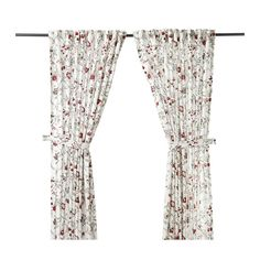 INGMARIE Curtains with tie-backs, 1 pair   - IKEA - $39.99 - medium weight Indienne curtains. White ground, red and green floral.